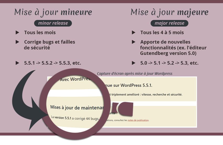 Infographie WordPress mise à jour mineure et mise à jour majeure